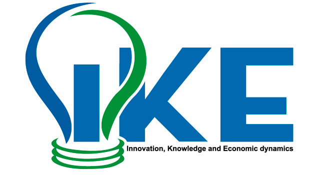 Logo of the IKE research group in which Esben Sloth Andersen, Björn Johnson and Bengt-Åke Lundvall have worked together