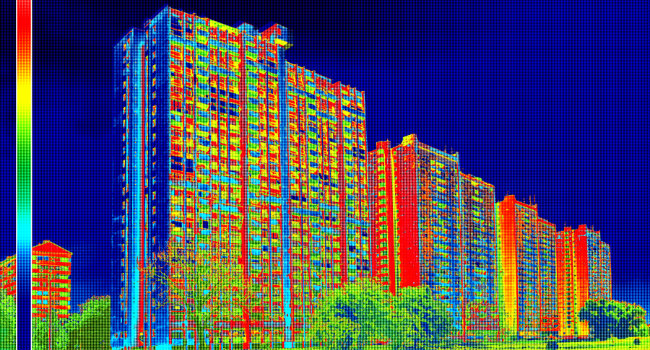 Infrared image of buildings